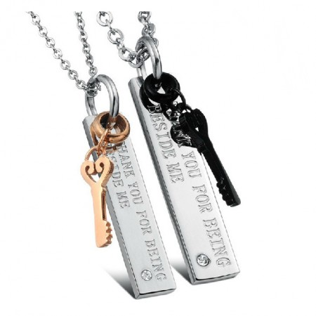 Soul Of Keys Lover Titanium Steel Necklaces For Couples Engravable(Price For A Pair)