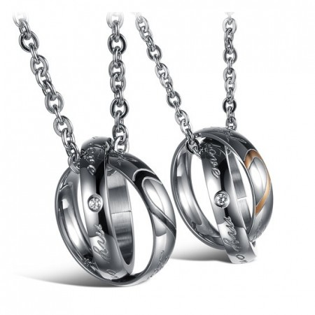 Real Love And My Only Love Couple Necklaces For Lovers Engravable Titanium Steel Necklace(Price For A Pair)