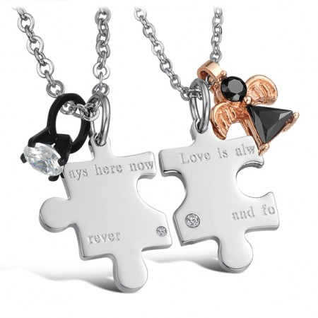 Puzzle Of Love Engravable Titanium Steel Necklace For Couples(Price For A Pair)