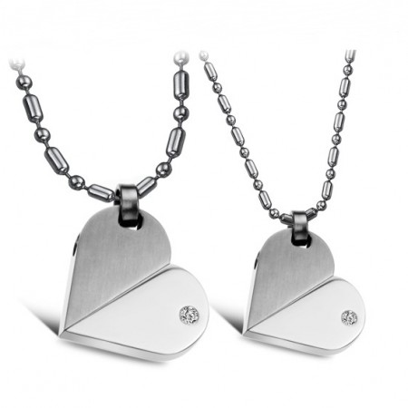 Engravable Titanium Steel Rotatable Heart Shaped Necklaces For Couples(Price For A Pair)