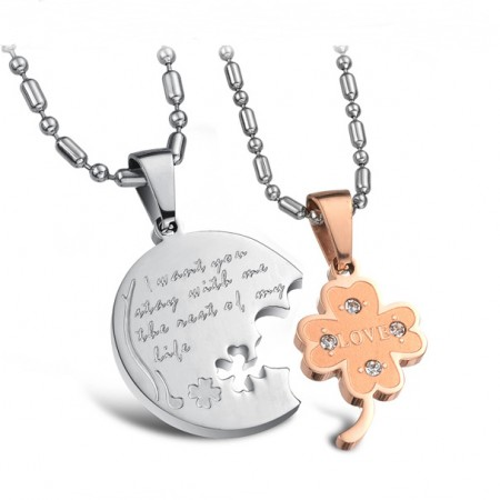 Four Leaf Clover Matching Lovers Necklaces Titanium Steel Necklace For Couples Engravable(Price For A Pair)