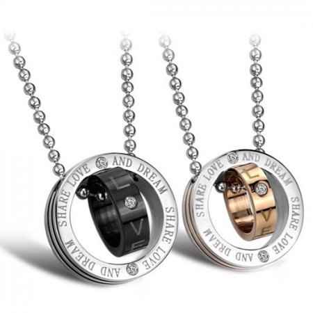 Cubic Zirconia Inlaid Titanium Steel Engravable Lover Necklace(Price For A Pair)