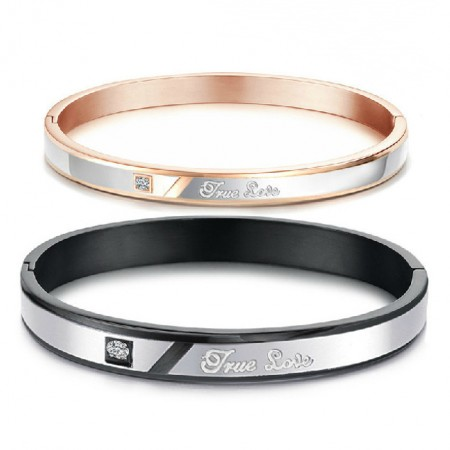 True Love Titanium Steel Lover Bracelet Engravable Bracelets For Couples(Price For A Pair)