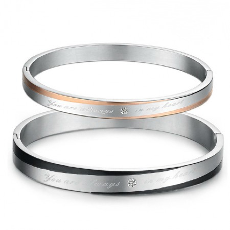 """""""You Are Always In My Heart"""" Engravable Titanium Steel Lover Bracelet(Price For A Pair)"""