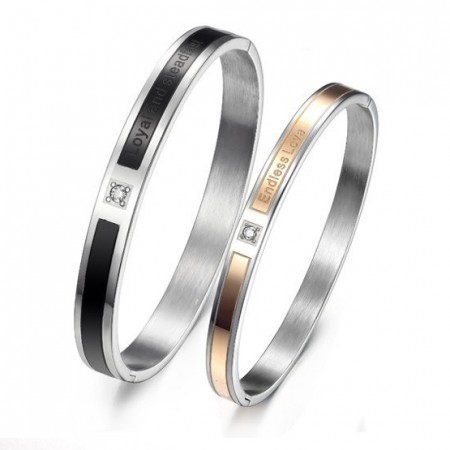 Engravable Couples Bangle Hot Selling Titanium Steel Bracelet For Lovers(Price For A Pair)