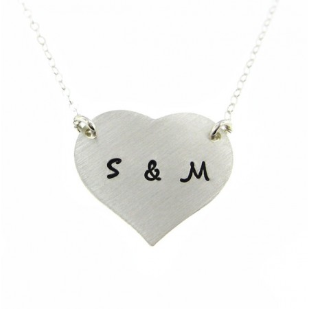 Two Initial Heart Shaped Personalized Sterling Silver Necklace