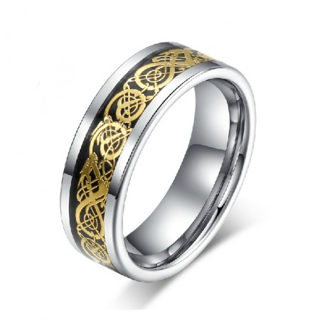 Tungsten Ring With 18K Gold Men's Engravable Ring