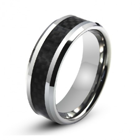 Men's Engravable Tungsten Ring With Carbon Fiber