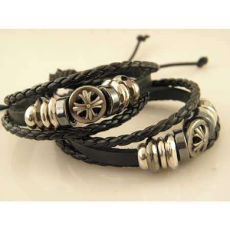 Fashionable Cross Handmade Leather Bracelet