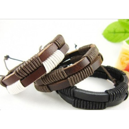 Classical Waxed Rope Handmade Leather Bracelet
