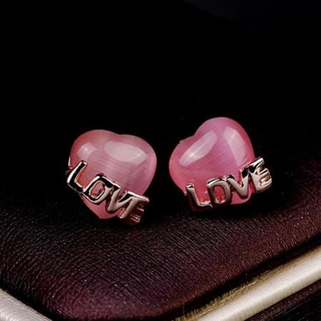 Cute Crystal Pink Heart&Love Women's Fashion Earring