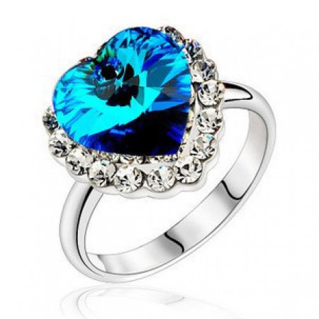 The Blue Diamond Heart Of Sea Women's Cocktail Ring