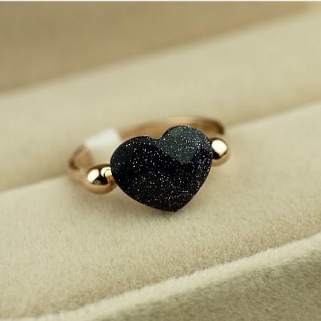 Lovely Cute Black Heart&Love Women's Cocktail Ring