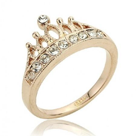Fashion Elegant Gold Plated 18K Women's Crown Ring