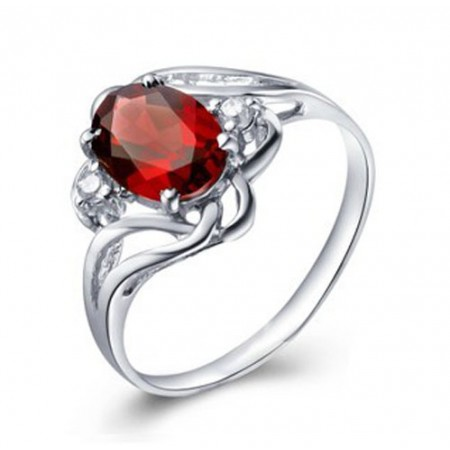 New Arrival Big Mozambique Red Garnet 925 Sterling Silvery Ruby Ring