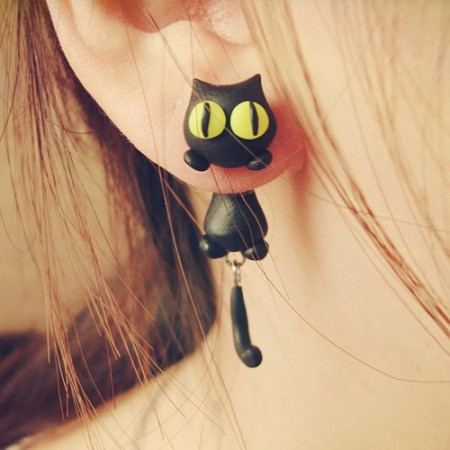 Lovely Cat Lying On The Ear Theme Handmade Women's Earrings,Two Kinds Of Styles,Four Colors