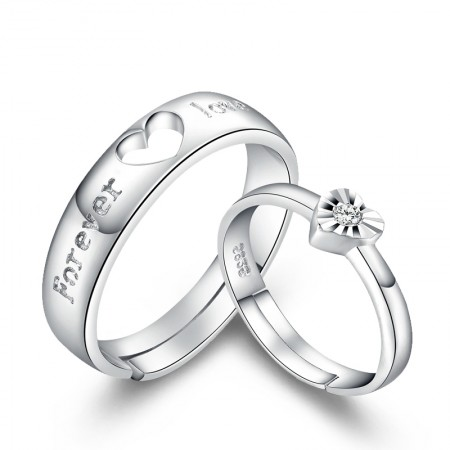 """Forever Love"" Unique 925 Sterling Silver Lover's Heart Couple Rings (Price For a Pair)"