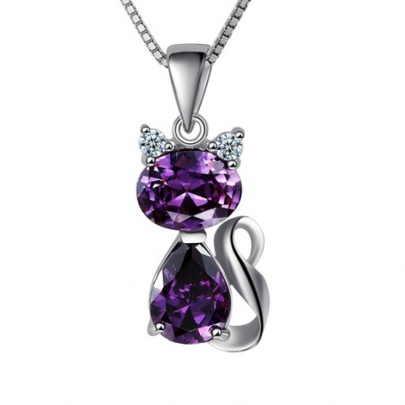 New Fashion Lovely Little Cat Amethyst Women's Sterling Silver Necklace