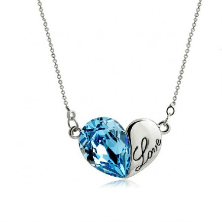 Sweet Love Heart-shaped Crystal Lover Necklace