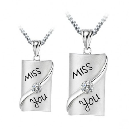 Miss You Rectangle 925 Sterling Silver 18K Gold Plated Lover Necklace(Price For a Pair)