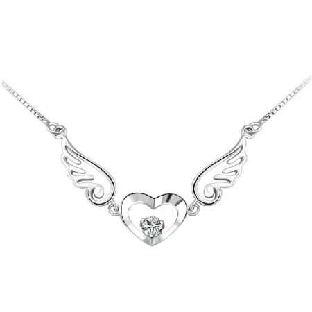 Fashionable Angel Wings With Crystal Heart Women's Sterling Silver Necklace