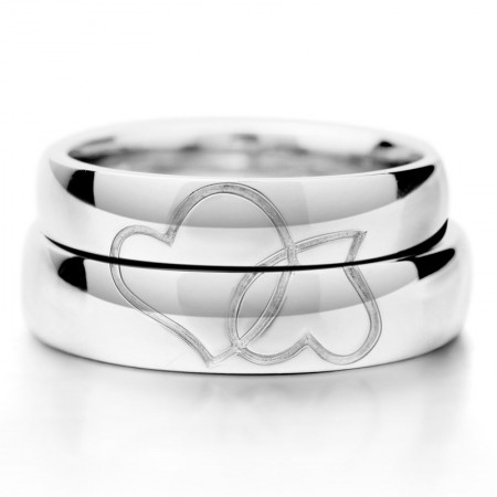 Romantic Lover's Heart Shape 925 Sterling Silver White Gold Plated Couple Rings (Price For a Pair)
