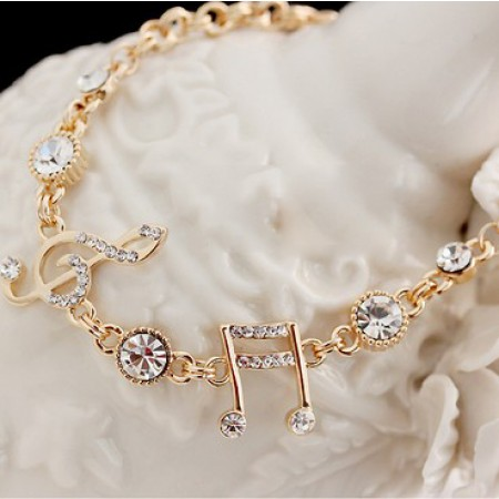 Exquisite Musical Note Crystal Alloy Gold Plated Women's Bracelet