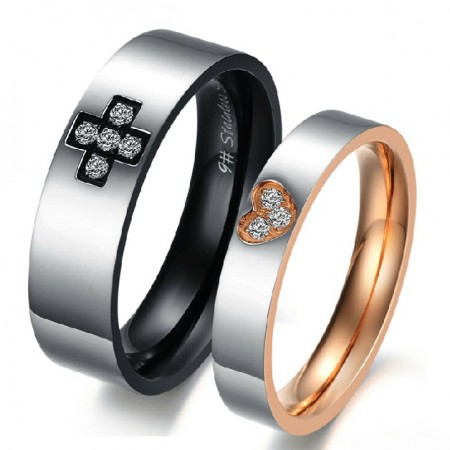 New Korea Style 316L Titanium Steel Crystal Couple Rings (Price For a Pair)