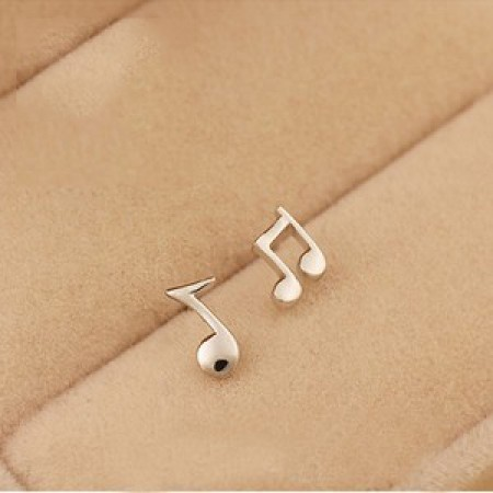 Gold Plated Titanium Stainless Steel Musical Note Women's Pair of Earrings