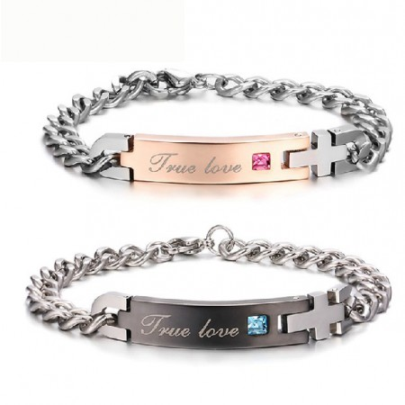 New Simple Style Stainless Steel Cross 'True Love' Engraved Couple Bracelet(Price For a Pair)