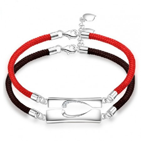 New Fashion Sweet Match Heart 925 Sterling Silver Lover Bracelets (Price For a Pair)