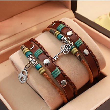 Vintage True Love Theme Leather Hand Made Lover's Bracelets (Price For a Pair)