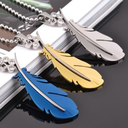 New Fashion Personalized Feather With Crystal Titanium Stainless Steel Fashion Necklace