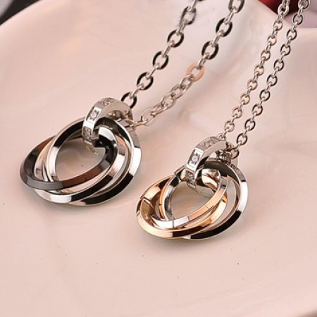 New Simple Design 316L Titanium Steel Rings Pendant Lovers Necklaces (Price For a Pair)