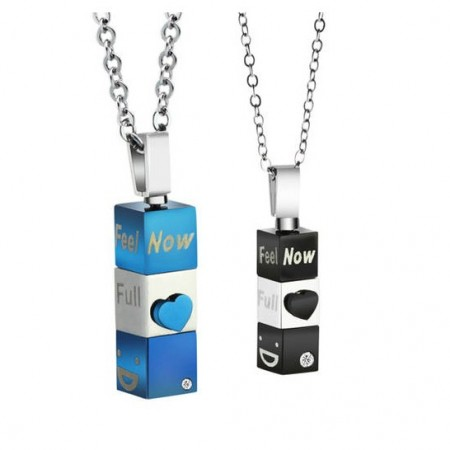 Unique Design With Letters Engraved Pendant Stainless Steel Lovers Necklaces (Price For a Pair)
