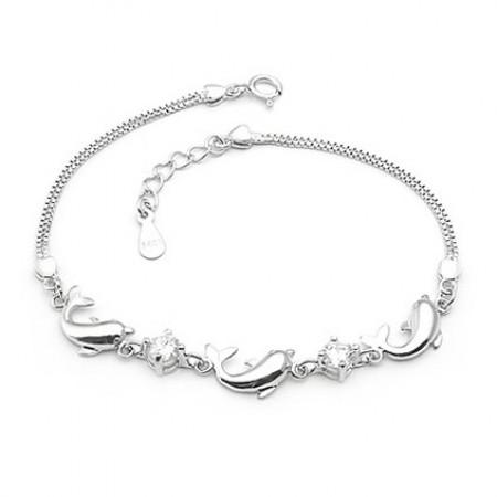 Lovely Happy Dolphins 925 Sterling Silver With Amethyst Women'S Bracelet,  925 Silver Bracelets