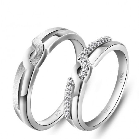 Fashion New Cubic Zirconia 925 Sterling Silver White Gold Plated Lovers Rings