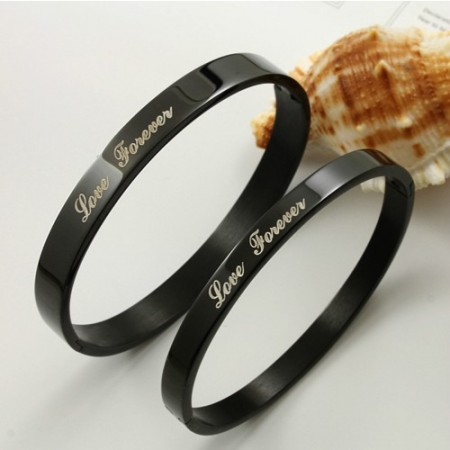 Fashionable Love Forever Black Titanium Lovers Bracelets(Price For A Pair)