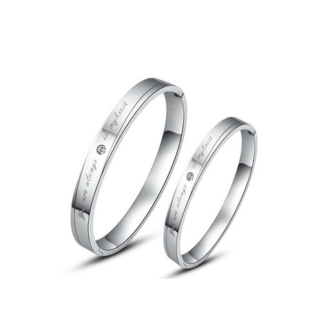 Fashionable Silver Titanium Embedded With Crystals Lovers Bracelets(Price For A Pair)
