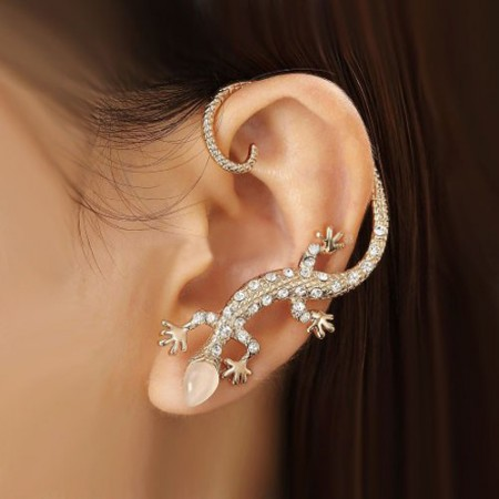 Fashion Exquisite Crystal Gecko With Opal Head Alloy Gold Plated Women's Single Cuff for Left Ear