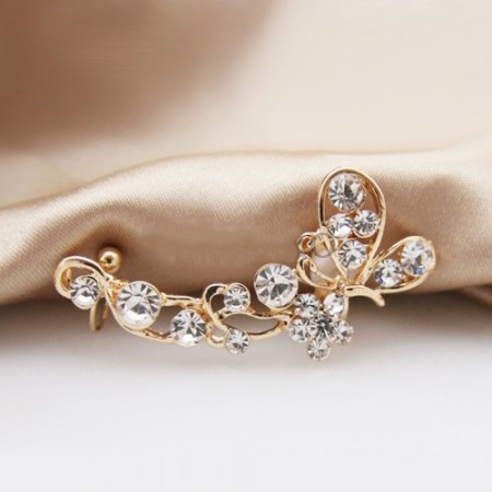 2019 Luxury Non Pierced Ear Allergic Free U Style Butterfly Shape Alloy Women's Single Ear Cuff