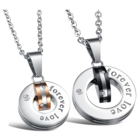 Elegant Stainless Steel With Crystal Ring Style Pendant Lover's Necklace(Price For A Pair)