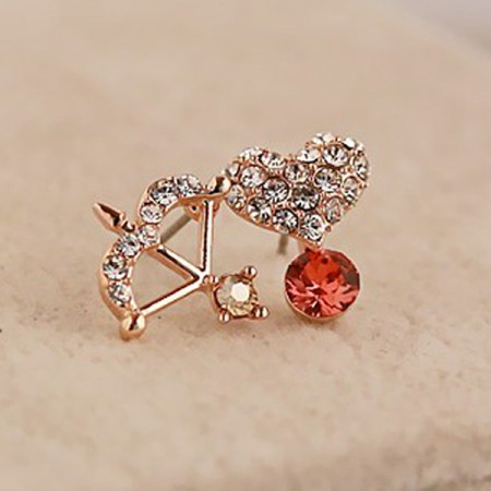 Romantic Diamond Cupid's Arrow And Heart Asymmetric Women's Earrings