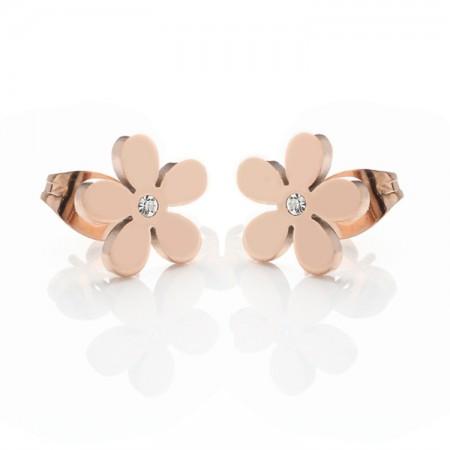 18K Rose Gold Flower With Crystal Earrings