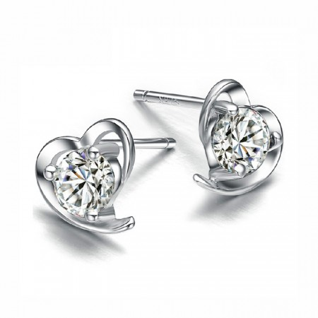 Sterling Silver Heart Shape Earrings With Rich Cut Crystal