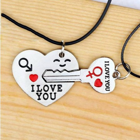 Romantic Heart And Key Silver Plated Alloy With Leather Rope Lover's Necklace(Price For A Pair)