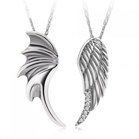 New Arrival Romantic Angel's Wings Lover's Sterling Silver Necklace(Price For A Pair)