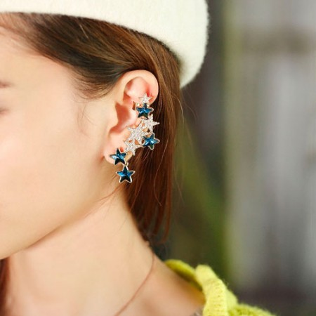 Blue And White Crystal Star Woman's Fashion Ear Cuff