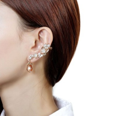 Exquisite Crystal Flower And Butterfly With Crystal Tassel Woman's Ear Cuff