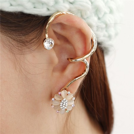 Exquisite Fashion Opal Sakura With Crystal Alloy Woman's Ear Cuff For Left Ear